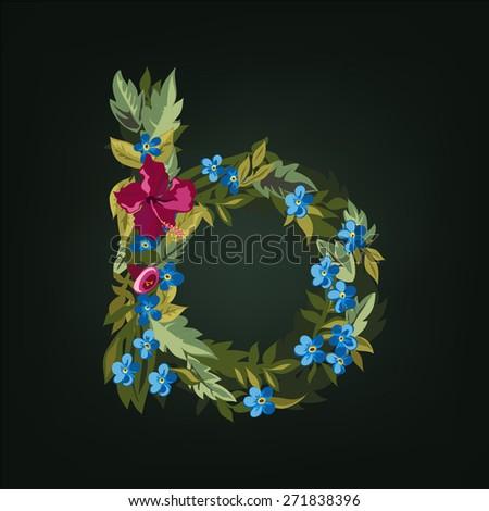 B letter. Flower  alphabet. Colorful font. Lowercase.  Vector illustration. - stock vector
