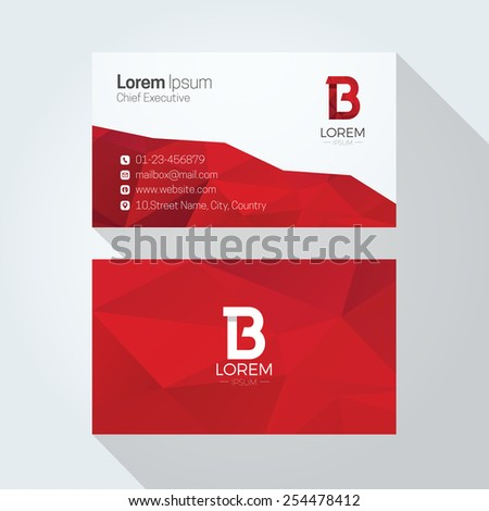 B Letter Logo Abstract Polygonal Background Business card template - stock vector