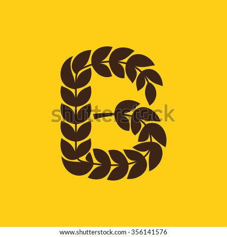 B letter logo formed by laurel wreath. Vector design template elements for your application or corporate identity.
