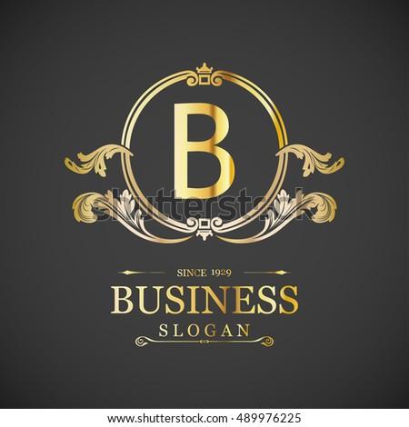 B Letter Logo Monogram Design Elements Stock Vector HD (Royalty Free ...