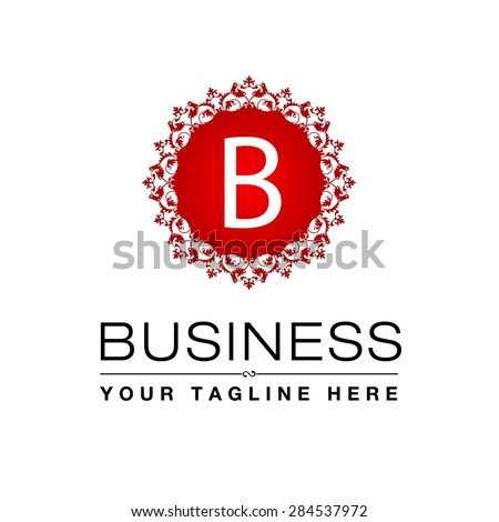 B letter Red Luxury Logo template flourishes calligraphic elegant ornament lines. Business sign, identity for Restaurant, Royalty, Cafe, Hotel, Heraldic, Jewelry, Fashion and other vector illustration - stock vector
