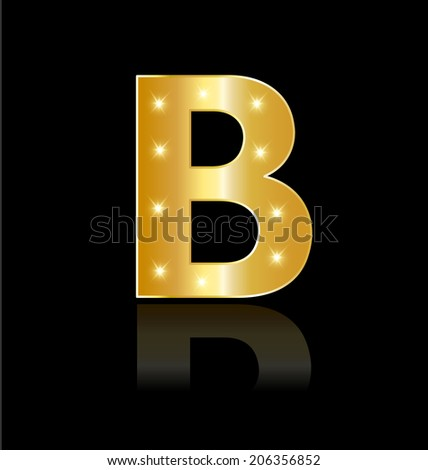 B letter with glowing lights and reflections vector design - stock vector
