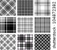 B&W plaid patterns set - stock vector