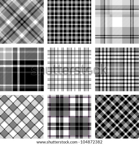 B&W plaid patterns set - stock vector