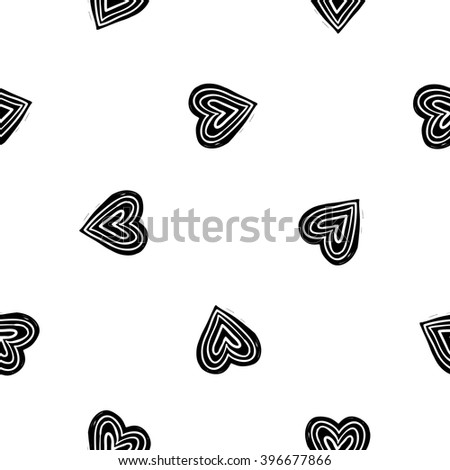 b&w seamless pattern with love sign, circle heart. Hand drawn graphic with black cute minimalistic scandinavian cartoon elements isolated on white background - stock vector