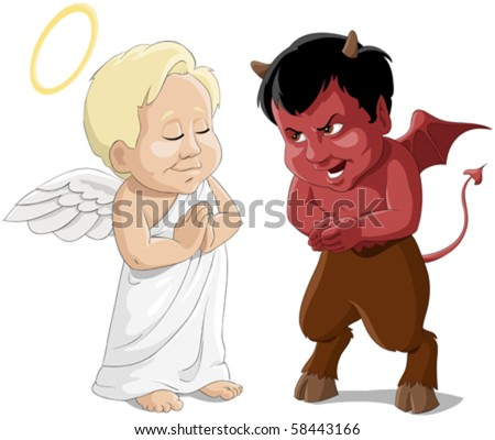 Babies an angel and a devil - stock vector