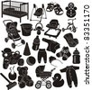 baby accesories silhouettes set - stock vector