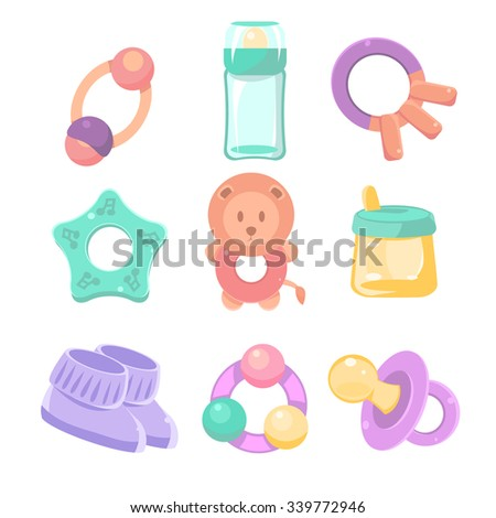 Baby accessories set. Vector illustration. Cute design, pastel colors - stock vector