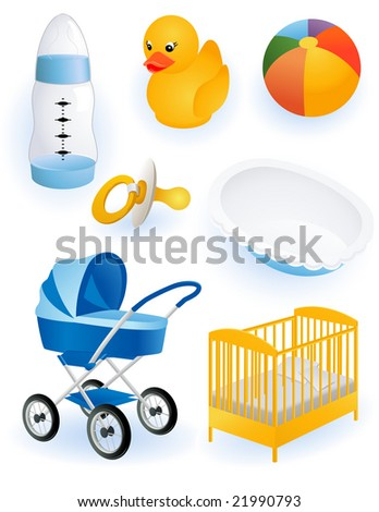 Baby accessories, vector illustration, EPS file included - stock vector