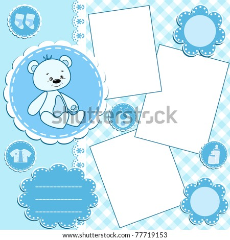 Baby album page.Blue. Vector illustration. - stock vector