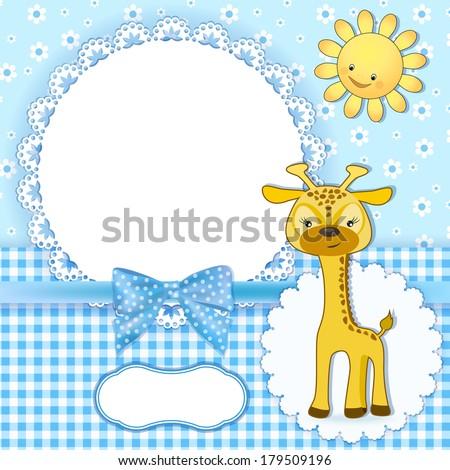 Baby album page. Vector illustration. - stock vector