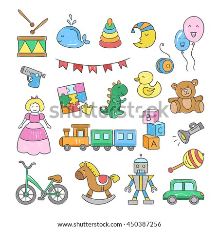 Baby and child icons. Hand drawn baby symbols: toys, bicycle, car, doll, ball, bear