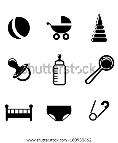 Baby and childish icons with a pram, ball, bottle, dummy or pacifier, crib, nappy, safety pin and toys in a black and white - stock vector