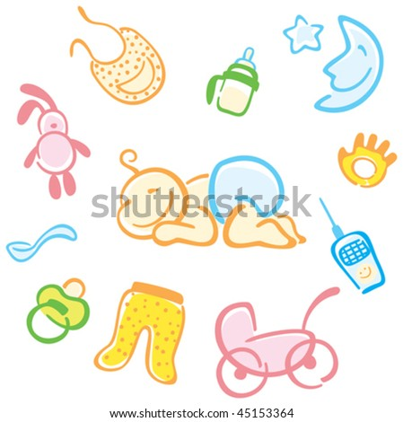 baby and his things - stock vector
