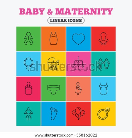 Baby and Maternity icons. Toddler, diapers and child footprint symbols. Heart, birthday cake and pacifier thin outline signs. Pregnant woman, couple and air balloons. Linear icons in colored squares. - stock vector