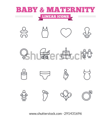 Baby and Maternity linear icons set. Toddler, diapers and child footprint symbols. Heart, birthday cake and pacifier thin outline signs. Pregnant woman, couple and air balloons. Flat vector - stock vector