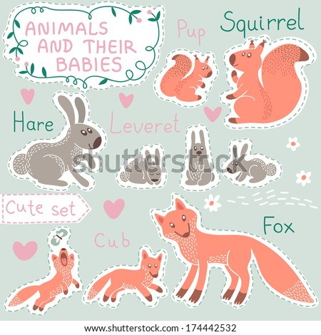 Baby and Mommy Animal Set on paper tags - for design and scrapbook. Vector illustration. - stock vector