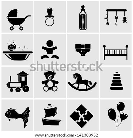 Baby and newborn vector icon set - stock vector