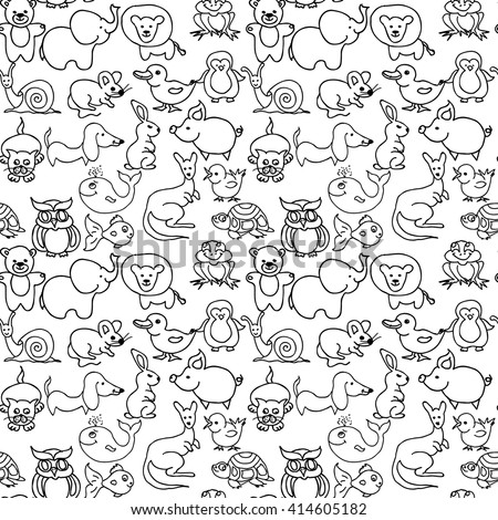 Baby animals icons seamless pattern black and white isolated