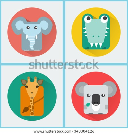 Baby Animals Round Icons Set. Elephant, Crocodile, Giraffe and Koala Characters. Colorful vector illustrations. - stock vector
