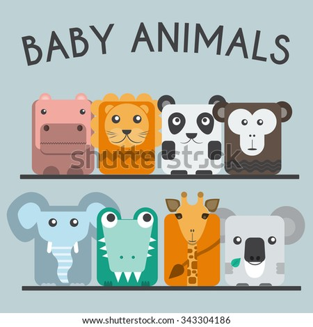 Baby Animals Round Icons Set. Elephant, Crocodile, Giraffe, Koala, Hippo, Lion, Panda and Chimp Characters. Colorful vector illustrations. - stock vector
