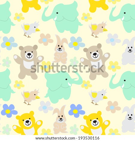 Baby Animals Seamless Background - stock vector
