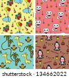 Baby animals seamless background patterns - stock vector