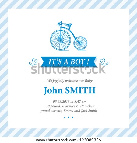 Baby announcement card editable vector with bicycle illustration for baby boy - stock vector