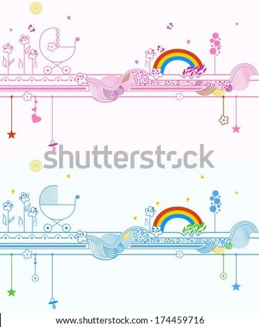 Baby announcement card. Vector illustration. - stock vector