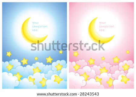 Baby announcement or greeting card for girl or boy - stock vector