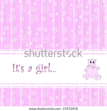 Baby announcement with cute teddy for girl-vector - stock vector