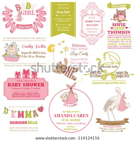 Baby Arrival and Shower Collection - for card design, scrapbook - in vector - stock vector