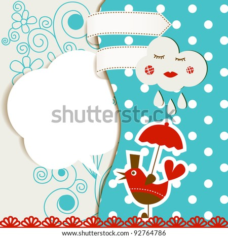 Baby arrival announcement card vector illustration - stock vector