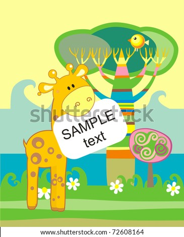 Baby arrival announcement card with giraffe - stock vector
