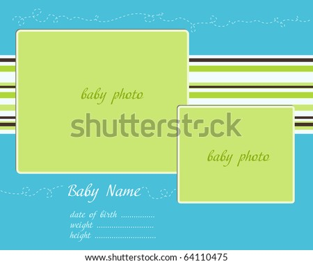 Baby Arrival blue-green Card with Photo Frames - stock vector