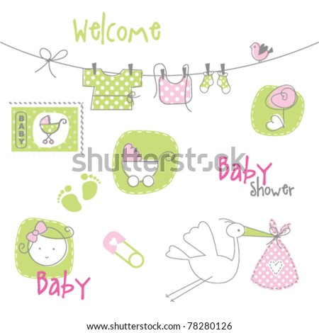 Baby arrival card - Baby shower elements - stock vector