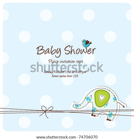 Baby arrival card - Baby shower invitation card - stock vector