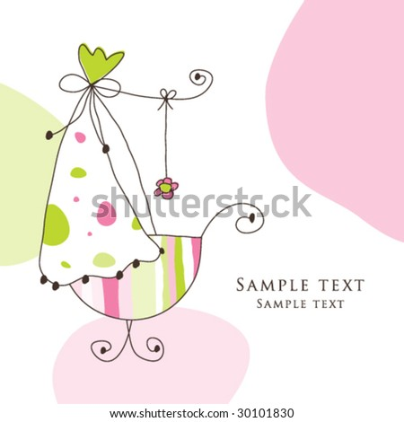 Baby arrival card - Girl arrival announcement card Birthday card - Cute design for greeting card, scrapbook, craft, invitation, baby shower projects Nice hand drawn illustration  - stock vector