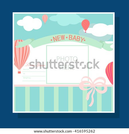 Baby Arrival Card - Photo Frame with balloons in clouds - stock vector