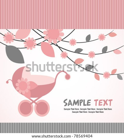 baby arrival card with pink leaves - stock vector