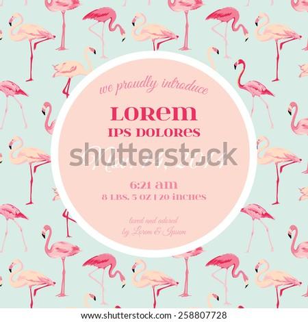 baby arrival shower card flamingo bird stock vector 258807728, Baby shower invitations