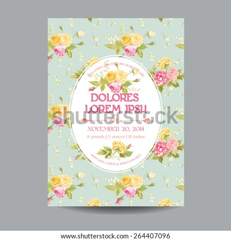 Baby Arrival or Shower Card - with Floral Blossom Design Background - in vector  - stock vector