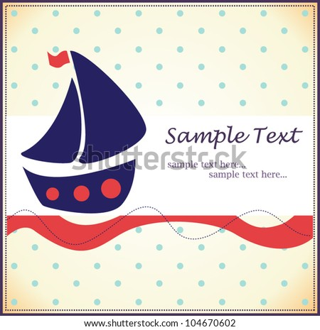 baby background with a boat - stock vector
