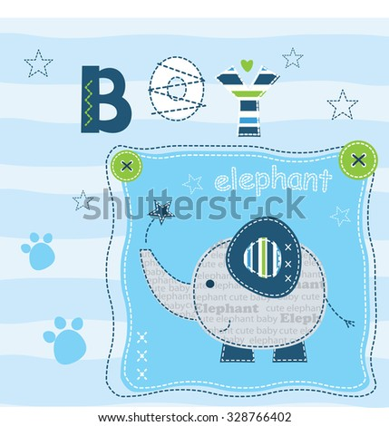 Baby background with cute elephant for t-shirt design, baby shower, greeting card - stock vector