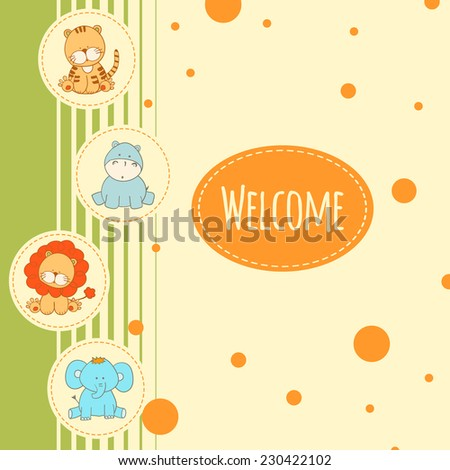 baby bacrground with fun african animal - stock vector