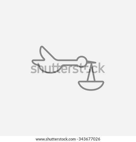 Baby basket with stork line icon for web, mobile and infographics. Vector dark grey icon isolated on light grey background. - stock vector