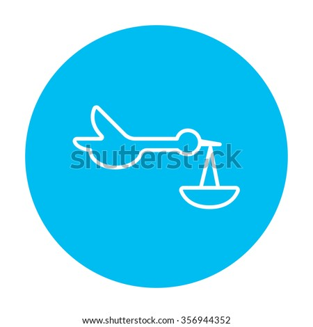 Baby basket with stork line icon for web, mobile and infographics. Vector white icon on the light blue circle isolated on white background. - stock vector