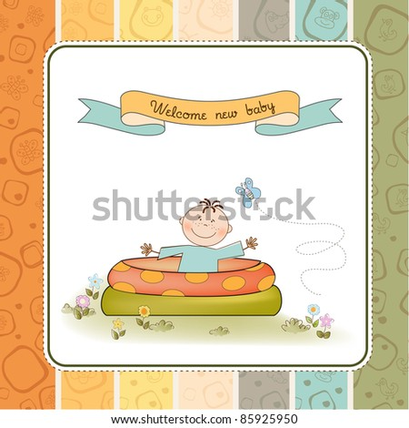 baby bathe in a small pool . shower announcement card - stock vector