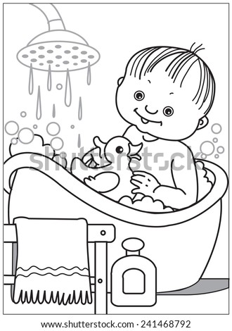 bath time coloring pages - photo#36