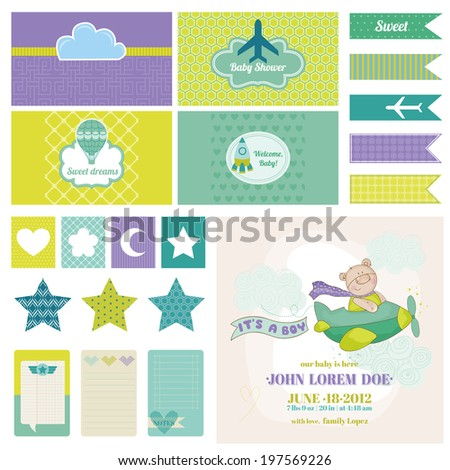 Baby Bear on a Plane - for Birthday, Baby Shower, Party Decoration - in vector - stock vector